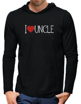 I love Auncle cool style Hooded Long Sleeve T-Shirt-Mens