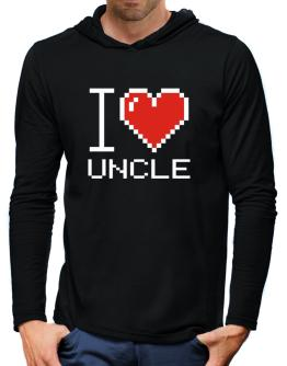 I love Auncle pixelated Hooded Long Sleeve T-Shirt-Mens