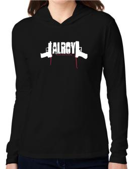Alroy - Blood And Bullets Hooded Long Sleeve T-Shirt Women