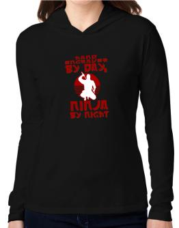 Hand Engraver By Day, Ninja By Night Hooded Long Sleeve T-Shirt Women