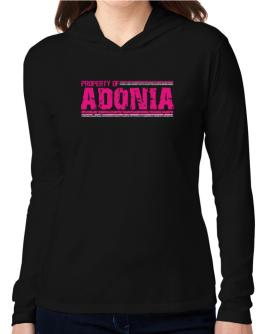 Property Of Adonia - Vintage Hooded Long Sleeve T-Shirt Women