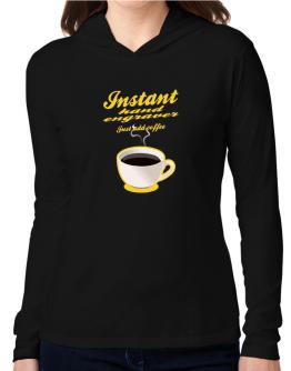 Instant Hand Engraver, just add coffee Hooded Long Sleeve T-Shirt Women
