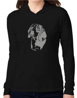 Beagle Face Special Graphic Hooded Long Sleeve T-Shirt Women