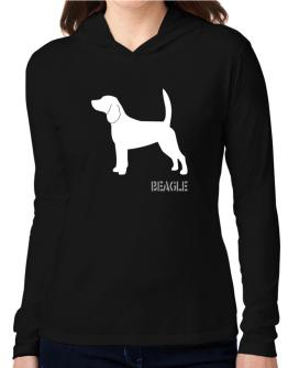 Beagle Stencil / Chees Hooded Long Sleeve T-Shirt Women