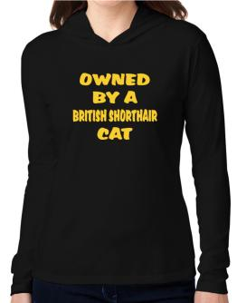 Owned By S British Shorthair Hooded Long Sleeve T-Shirt Women
