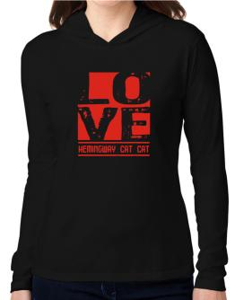 Love Hemingway Cat Hooded Long Sleeve T-Shirt Women