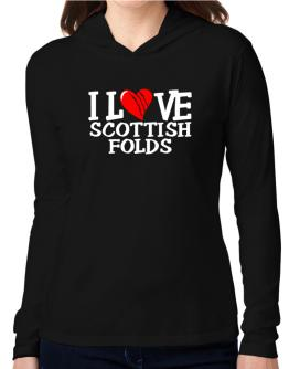 I Love Scottish Folds - Scratched Heart Hooded Long Sleeve T-Shirt Women