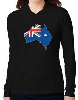 Australia - Country Map Color Simple Hooded Long Sleeve T-Shirt Women