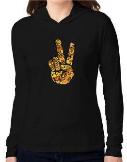 Peace Sign - Hand Collage Hooded Long Sleeve T-Shirt Women