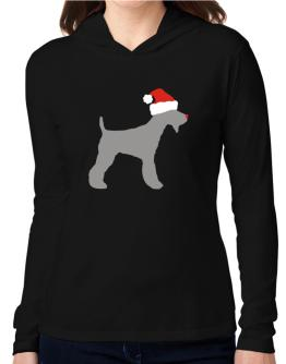 Fox Terrier christmas Hooded Long Sleeve T-Shirt Women