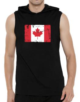 """ Canada - Vintage Flag "" Hooded Sleeveless T-Shirt - Mens"