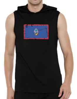 """ Guam - Vintage Flag "" Hooded Sleeveless T-Shirt - Mens"