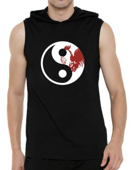 Yin Yang Rooster Hooded Sleeveless T-Shirt - Mens