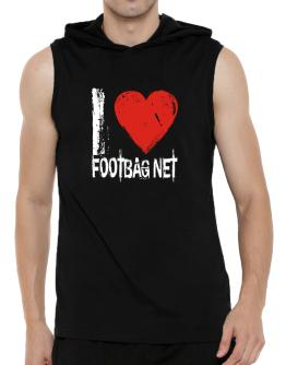 I Love Footbag Net Hooded Sleeveless T-Shirt - Mens