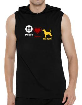Peace, Love, Beagle Hooded Sleeveless T-Shirt - Mens