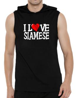 I Love Siamese - Scratched Heart Hooded Sleeveless T-Shirt - Mens