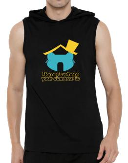 Home Is Where Siamese Is Hooded Sleeveless T-Shirt - Mens