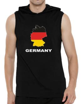 Germany - Country Map Color Hooded Sleeveless T-Shirt - Mens