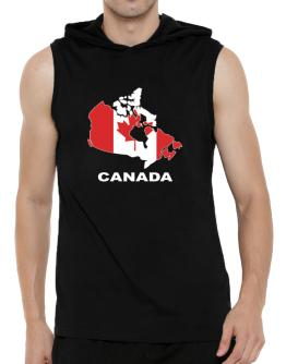 Canada - Country Map Color Hooded Sleeveless T-Shirt - Mens
