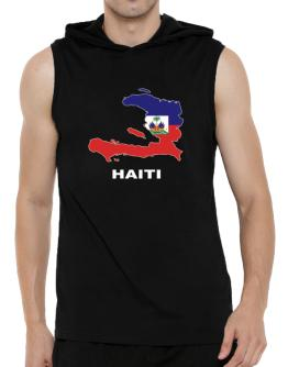Haiti - Country Map Color Hooded Sleeveless T-Shirt - Mens