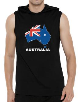 Australia - Country Map Color Hooded Sleeveless T-Shirt - Mens