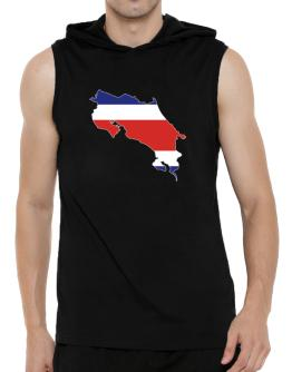 Costa Rica - Country Map Color Simple Hooded Sleeveless T-Shirt - Mens