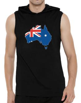 Australia - Country Map Color Simple Hooded Sleeveless T-Shirt - Mens