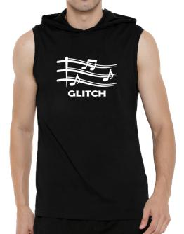 Glitch - Musical Notes Hooded Sleeveless T-Shirt - Mens