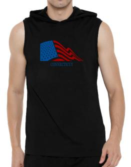 Flag Usa Connecticut Hooded Sleeveless T-Shirt - Mens