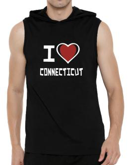 I Love Connecticut Hooded Sleeveless T-Shirt - Mens