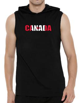 Canada Flag Hooded Sleeveless T-Shirt - Mens