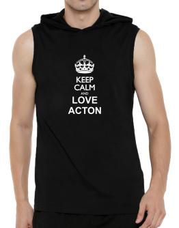Keep calm and love Acton Hooded Sleeveless T-Shirt - Mens