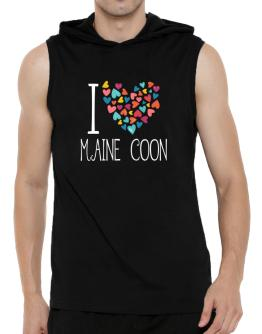 I love Maine Coon colorful hearts Hooded Sleeveless T-Shirt - Mens