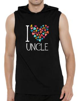 I love Auncle colorful hearts Hooded Sleeveless T-Shirt - Mens