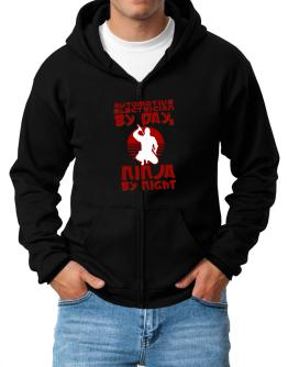 Automotive Electrician By Day, Ninja By Night Zip Hoodie - Mens