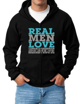 Real Men Love American Porcupine Zip Hoodie - Mens