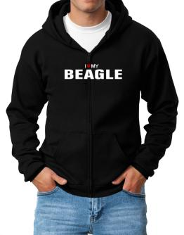 I Love My Beagle Zip Hoodie - Mens