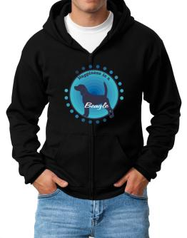 """ Happiness is Beagle "" Zip Hoodie - Mens"