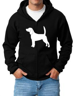 Beagle Silhouette Embroidery Zip Hoodie - Mens
