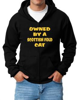 Owned By S Scottish Fold Zip Hoodie - Mens