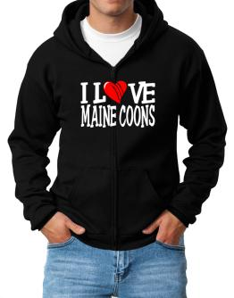 I Love Maine Coons - Scratched Heart Zip Hoodie - Mens