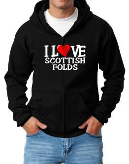 I Love Scottish Folds - Scratched Heart Zip Hoodie - Mens