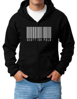 Scottish Fold Barcode Zip Hoodie - Mens