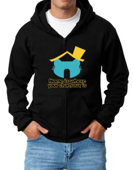 Home Is Where Chartreux Is Zip Hoodie - Mens
