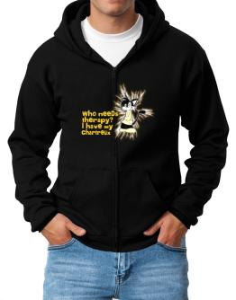 Who Needs Therapy? I Have My Chartreux Zip Hoodie - Mens