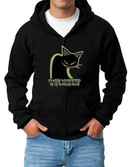 Pussy Whipped By My Russian Blue Zip Hoodie - Mens