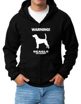 Warning Beagle On Guard Zip Hoodie - Mens