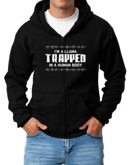 I Am Llama Trapped In A Human Body Zip Hoodie - Mens