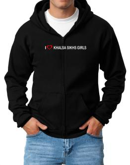 I love Khalsa Sikhs Girls Zip Hoodie - Mens