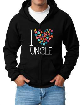 I love Auncle colorful hearts Zip Hoodie - Mens
